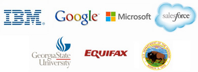 IBM   |   Google   |   Microsoft   |   SalesForce    |   Georgia State University   |   Equifax   |   US Department of the Interior